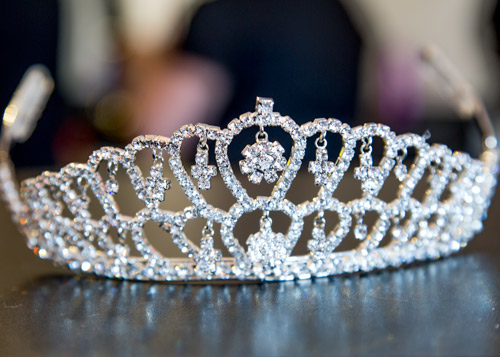 Brides diamond tiara before it's worn on the morning of the wedding