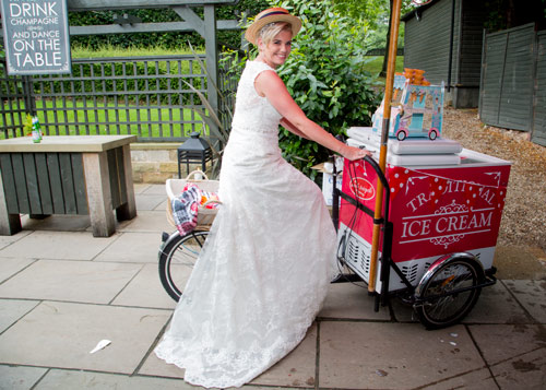 bride on the ice cream bike at whitley hall hotel