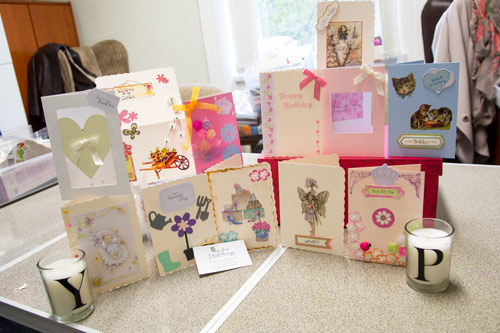 Handmade cards created at Heather Howard yorkshire psychotherapy head office at the cake and craft day
