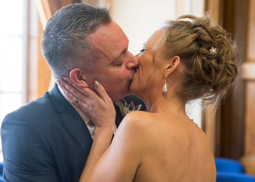 First kiss as husband and wife at Barnsley Town Hall Wedding
