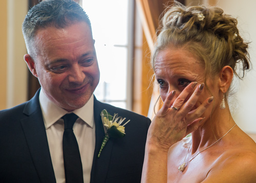 Bride crying during the wedding ceremony at Barnsley Town Hall Wedding