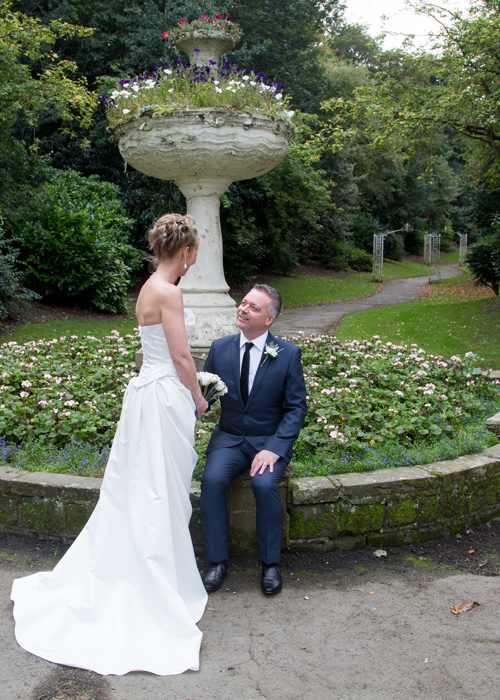 Bride and groom in Locke Park at Barnsley Town Hall Wedding