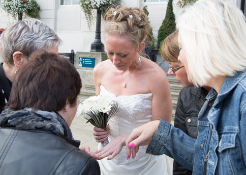 Bride showing off her wedding ring at Barnsley Town Hall Wedding