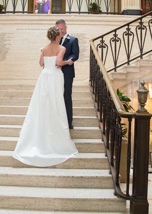 Bride and groom on the steps at Barnsley Town Hall Wedding