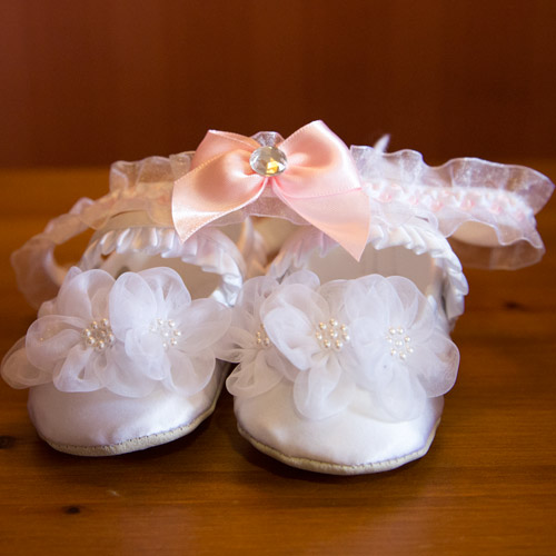 shoes and garter at pink wedding wortley hall hotel sheffield