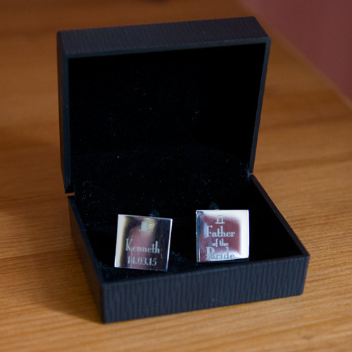 engraved cufflinks for father of the bride wortley hall hotel sheffield