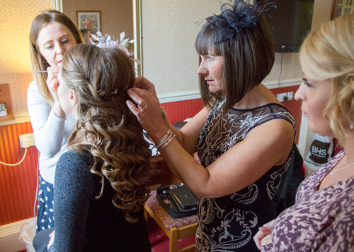 bride having hair and makeup done at wortley hall hotel sheffield