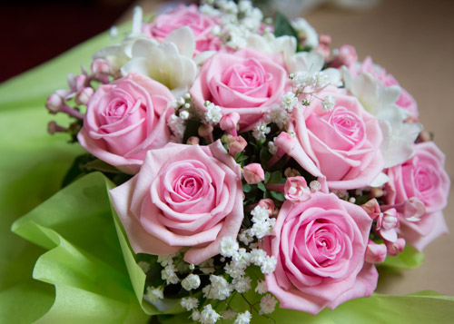 pink and white bouquet with babys breath