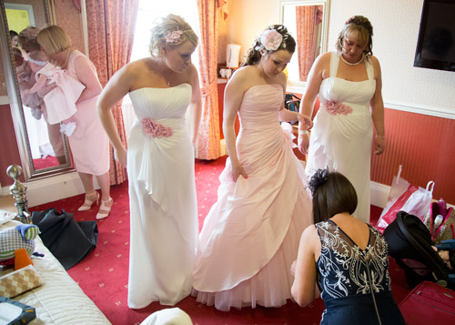 bridal party finish getting ready at wortley hall hotel sheffield