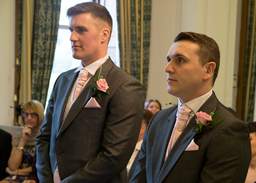 groom and best man waiting for the bride to arrive wortley hall hotel sheffield