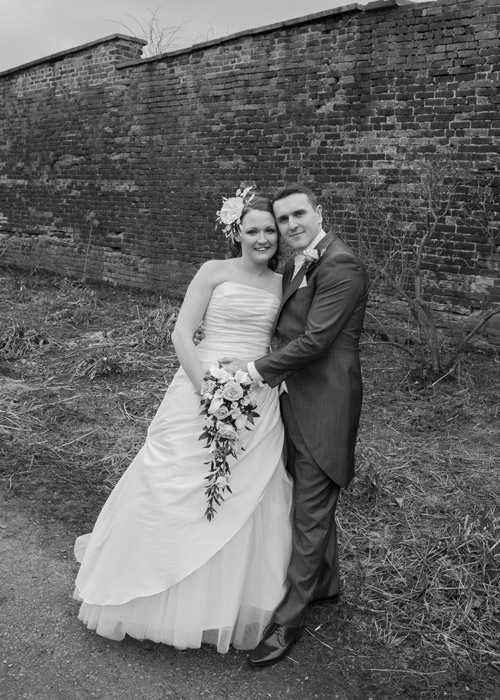 birde and groom in the grounds of wortley hall hotel