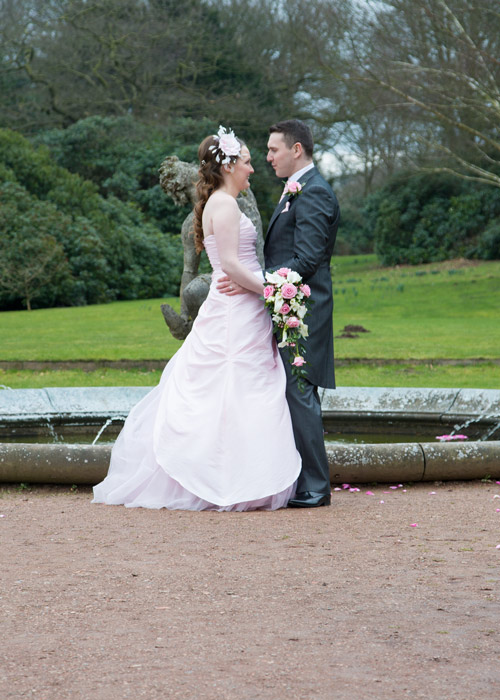 bride and groom in wortley hall grounds