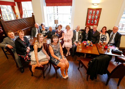 Brides family in bar area at wortley hall sheffield photographer