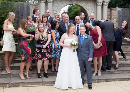 Silly group wedding photograph at holiday inn barnsley