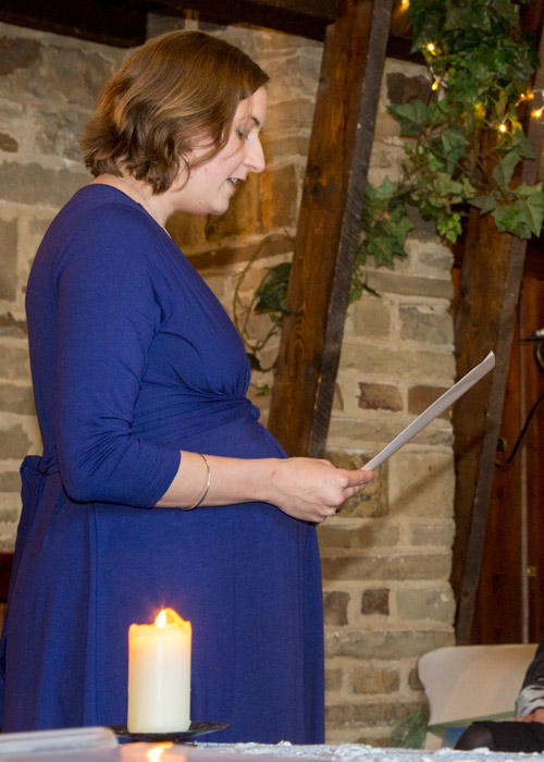 Guest giving a reading at Cubley Hall Wedding