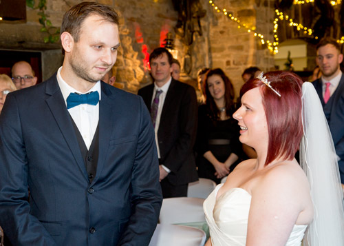 Bride and Groom exchange vows at Cubley Hall