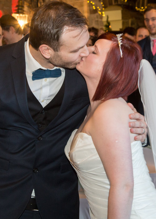 Bride and Groom first kiss at Cubley Hall Wedding