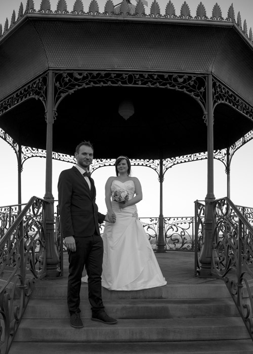 Bride and groom in bandstand at Cubley Hall Wedding