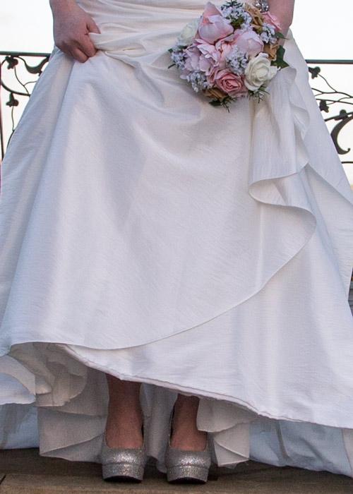 Brides glittery wedding shoes