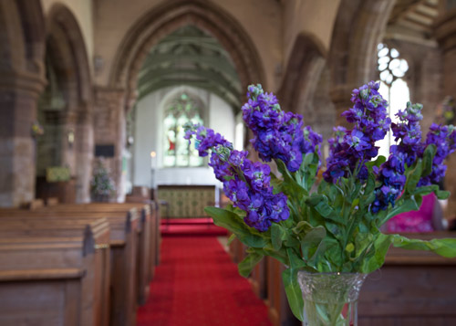 Purple flowers decorating the inside of the church with the altar in the background