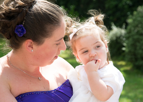 bridesmaid and flower girl before the ceremony at aston church sheffield