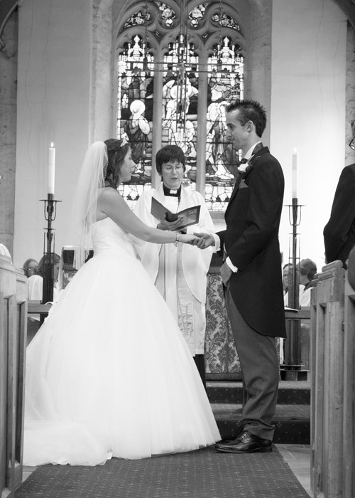 bride and groom exchanging vows aston church sheffield