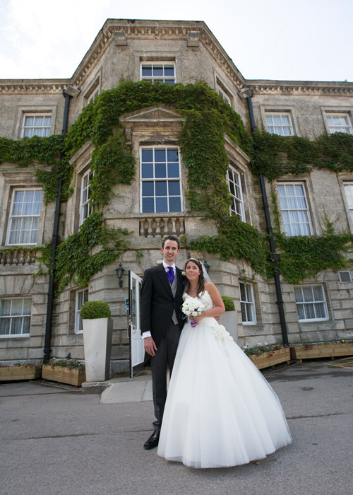 bride and groom in front of Aston hall hotel sheffield wedding photographer