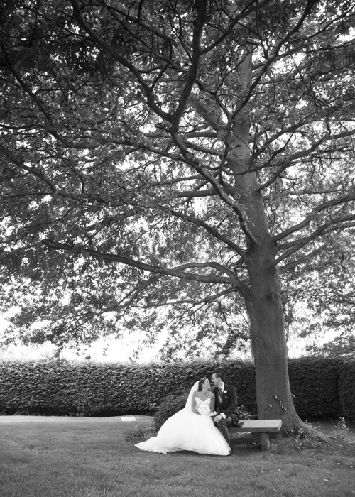 bride and groom under a tree at aston hall hotel sheffield black and white photography