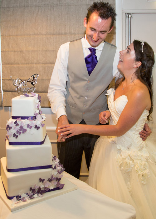 bride and groom laughing while cutting purple and white buttrfly cake ant aston hall hotel
