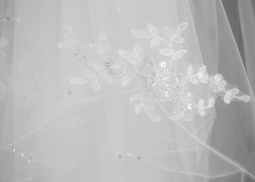 balck and white veil detail