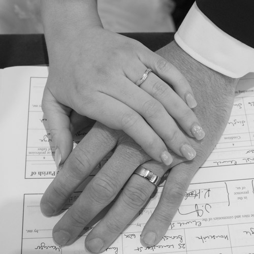 black and white wedding bands on the register