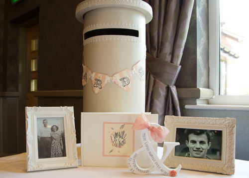 Card box and memory table peach wedding burntwood court hotel photographer