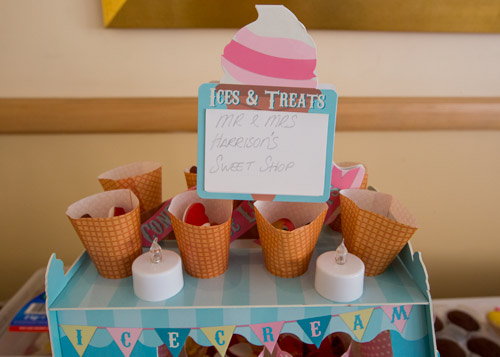 homemade sweets stand for wedding evening reception