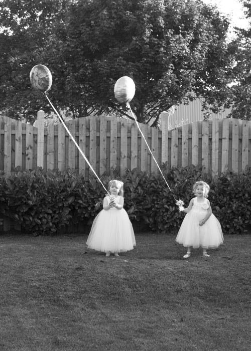 flower girls withballoons bluebell wedding venue barnsley