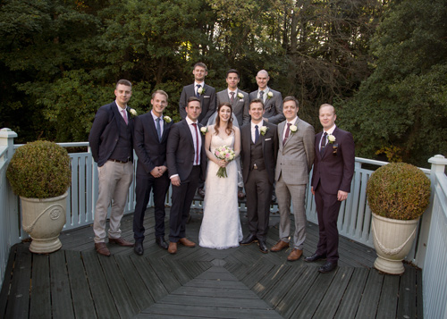 bride with groomsmen at whitley hall hotel sheffield