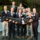 groomsmen holding up groom at whitley hall hotel sheffield