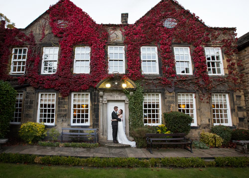 bride and groom at Whitley Hall hotel