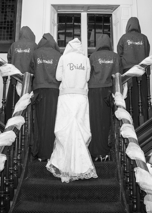 bride and bridesmaids on stairs at whitley hall sheffield