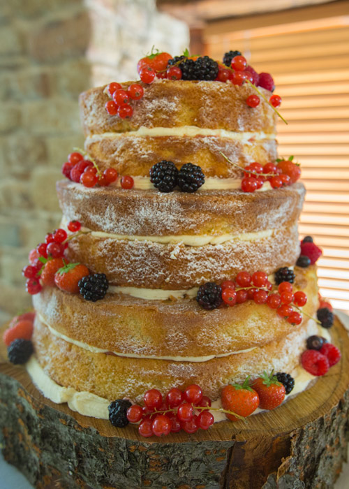 finished naked cake decorated with red and blackberries