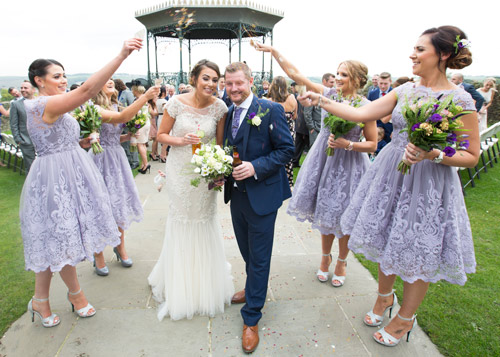 bridesmaids throwing confetti at cubley hall penistone sheffield