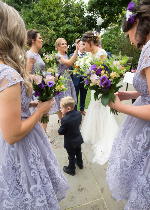 bridesmaids picking confetti out of brides hair cubley hall penistone sheffield