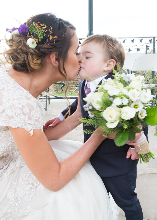 bride kissing page boy cubley hall penistone sheffield