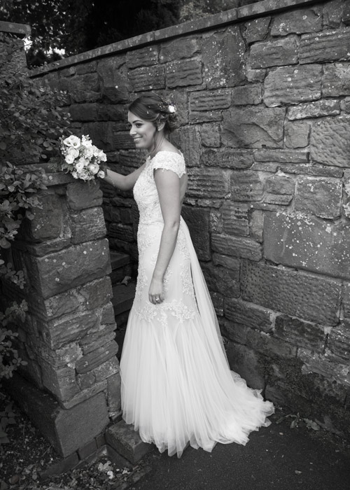 bride walking up secret stairs at cubley hall penistone sheffield