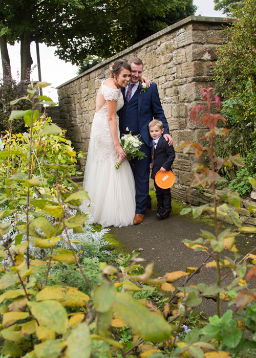 bride and groom with son cubley hall penistone sheffield