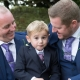page boy and groomsmen in blue suits