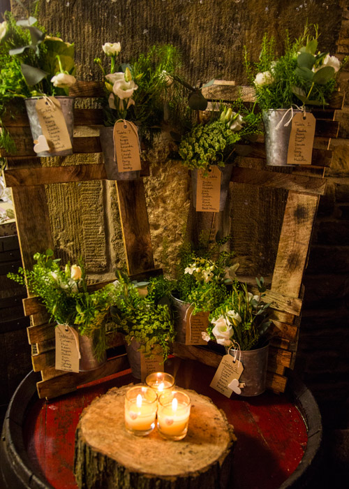 alternative table plan with flowers and buckets cubley hall penistone sheffield