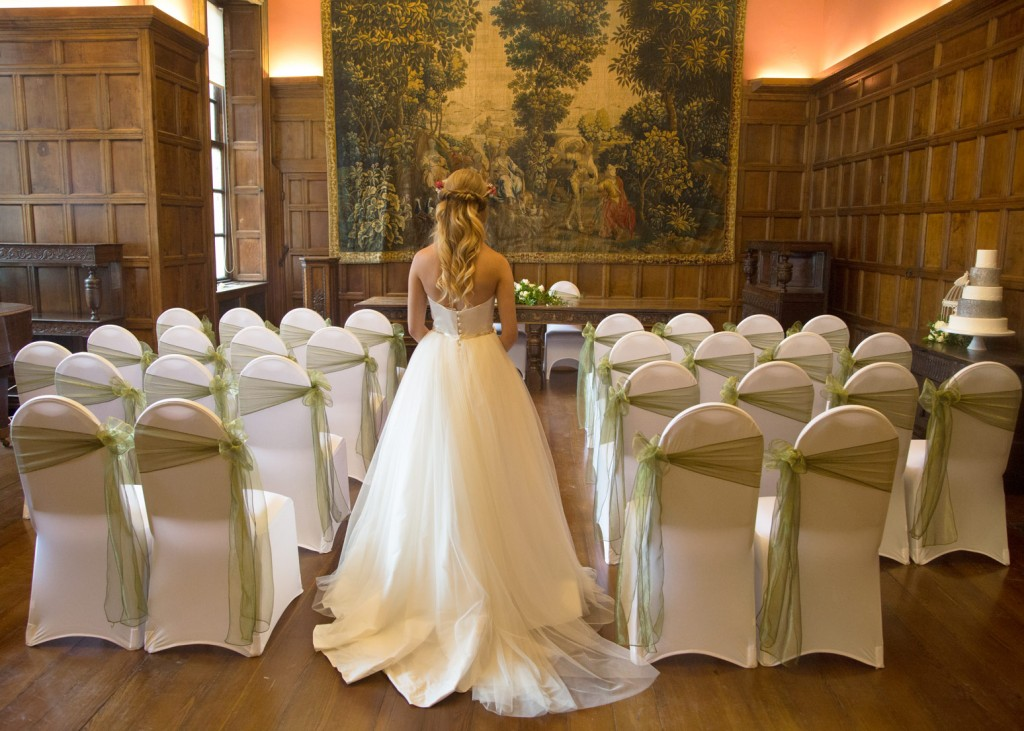 back of the dress and room decortaion of cannon halls ballroom