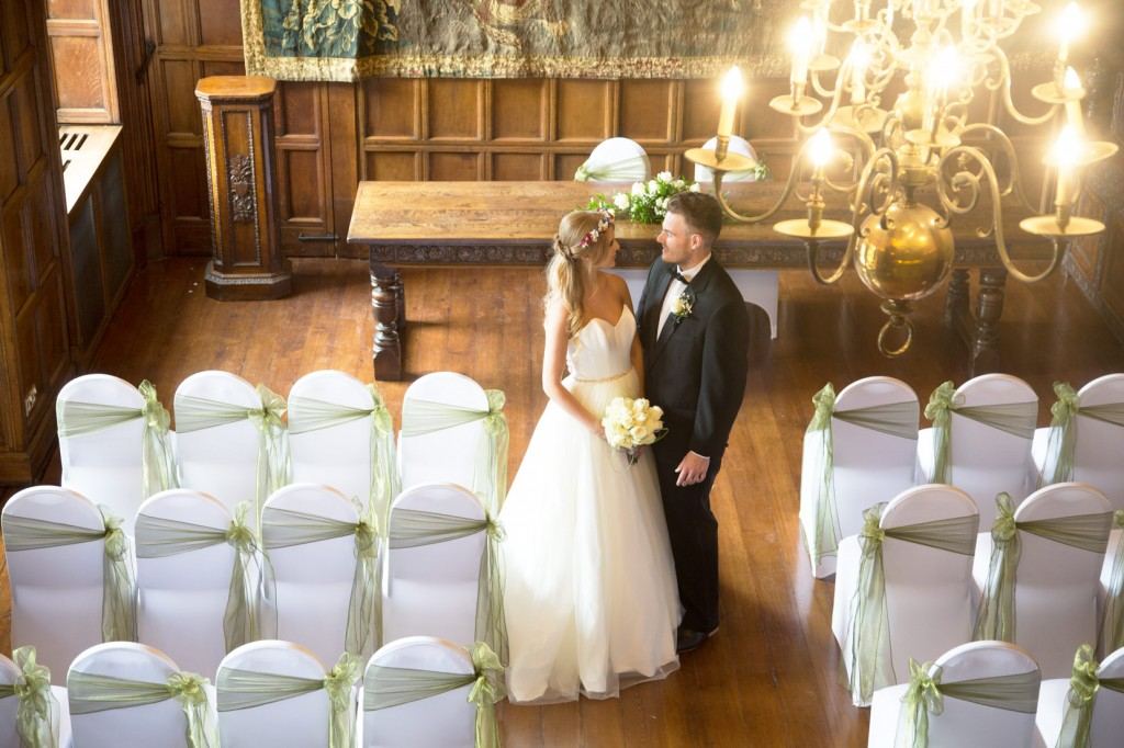 bride and groom looking at each other in cannon halls ballroom