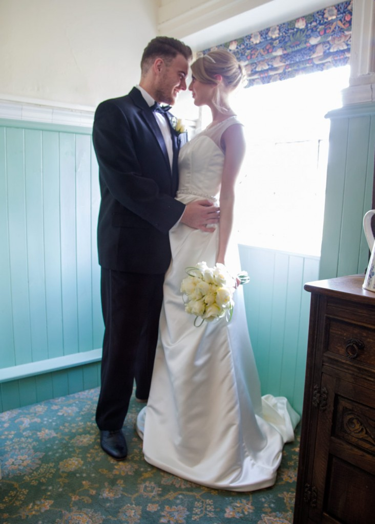 bride and groom in the butlers pantry at Cannon hall museum barnsley