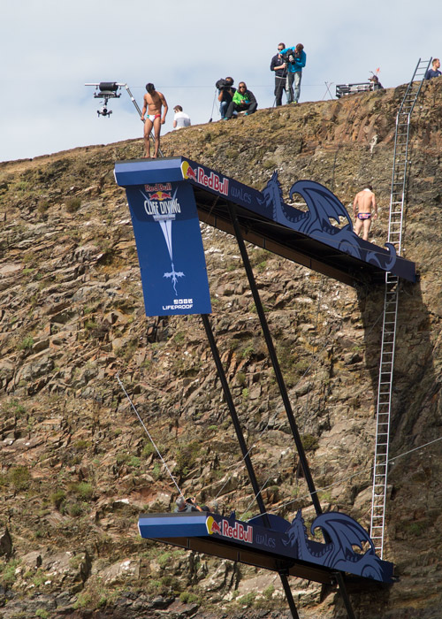 mans preparation on top board Red bull cliff diving world series blue lagoon pembrokshire